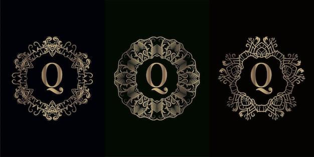 Sammlung von logo-initialen q mit luxuriösem mandala-ornament-rahmen