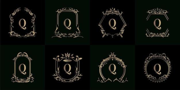 Sammlung von logo-initialen q mit luxuriösem ornament oder blumenrahmen