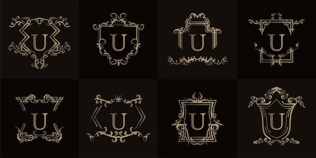 Sammlung von logo-initialen u mit luxuriösem ornament oder blumenrahmen