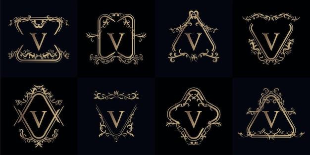 Sammlung von logo-initialen v mit luxuriösem ornament oder blumenrahmen