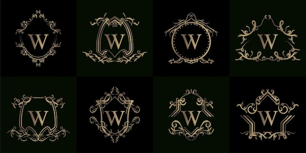 Sammlung von logo-initialen w mit luxuriösem ornament oder blumenrahmen