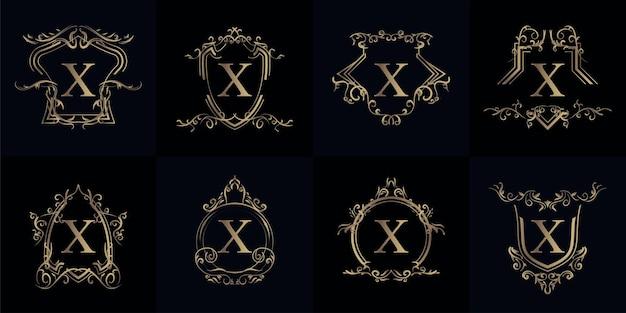 Sammlung von logo-initialen x mit luxuriösem ornament oder blumenrahmen