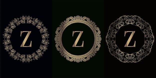 Sammlung von logo-initialen z mit luxuriösem mandala-ornament-rahmen