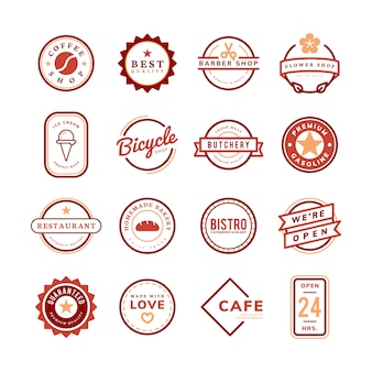 Sammlung von logo- und abzeichenvektoren