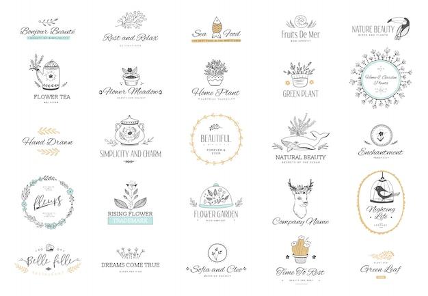 Sammlung von logo-vorlagen. blüht kalligraphische elemente und rahmen. moderner stil von gestaltungselementen, postkarte, fahnen.