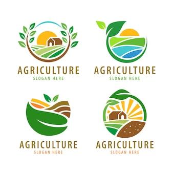 Sammlung von logodesigns für die landwirtschaft