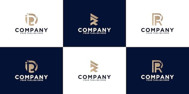 Sammlung von logodesigns mit anfangsbuchstaben r für business und mode