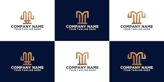 Sammlung von logodesigns mit anfangsbuchstaben w für wirtschaft, mode und technologie