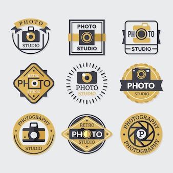 Sammlung von logos, farben gold und schwarz