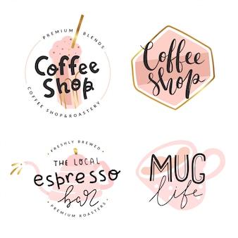 Sammlung von logos für café der kaffeestube