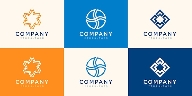Sammlung von logos für ihr unternehmen. assoziation, allianz, einheit, teamarbeit.