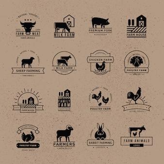 Sammlung von logos für landwirte, lebensmittelgeschäfte und andere branchen.