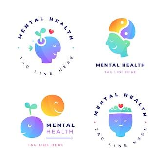 Sammlung von logos für psychische gesundheit mit farbverlauf