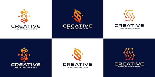 Sammlung von logos mit anfangsbuchstaben s, technologiebuchstaben s