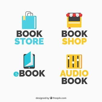 Sammlung von logos mit bücher für verschiedene unternehmen