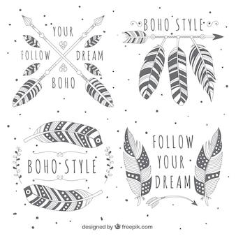 Sammlung von logos mit dekorativen federn