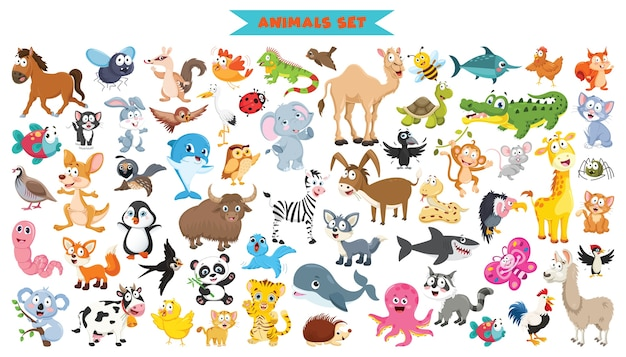 Sammlung von lustigen cartoon-tieren