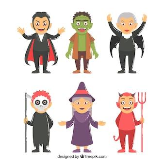 Sammlung von lustigen halloween kostüm