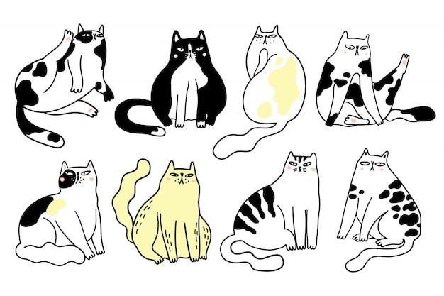 Sammlung von lustigen mürrischen katzen, die in verschiedenen positionen sitzen. bündel verschiedener karikaturkatzen lokalisierte handgezeichnete illustration