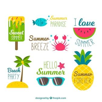 Sammlung von lustigen sommeraufklebern