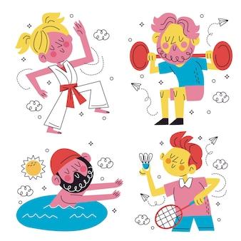 Sammlung von lustigen sportaufklebern