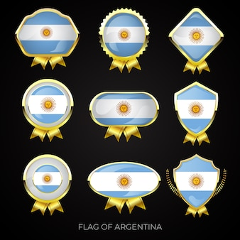 Sammlung von luxuriösen goldenen argentinischen flaggenabzeichen