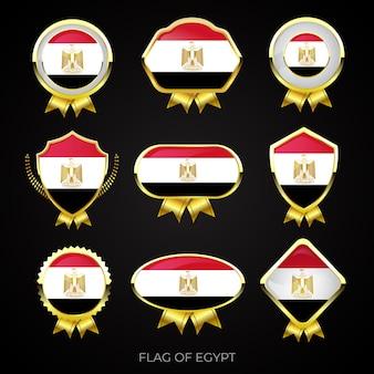 Sammlung von luxuriösen goldenen flaggenabzeichen von ägypten