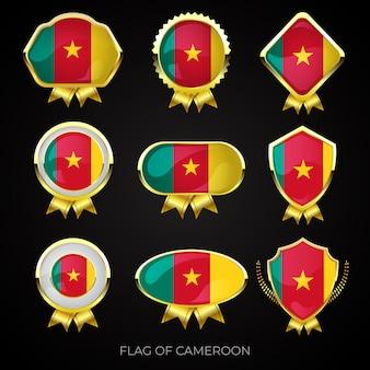 Sammlung von luxuriösen goldenen flaggenabzeichen von kamerun