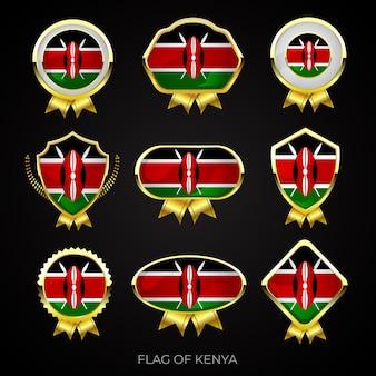 Sammlung von luxuriösen goldenen flaggenabzeichen von kenia