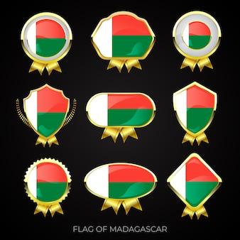 Sammlung von luxuriösen goldenen flaggenabzeichen von madagaskar