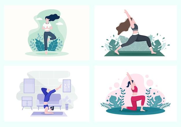 Sammlung von mädchen, die yoga oder meditation machen