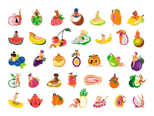 Sammlung von mädchen mit früchten
