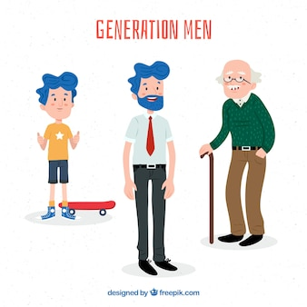 Sammlung von männern in verschiedenen altersstufen