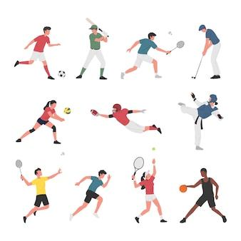 Sammlung von männern und frauen, die verschiedene sportliche aktivitäten ausführen.