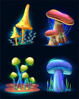 Sammlung von magischen fantasiepilzen der vektorkarikaturart, die im dunkeln lokalisiert auf weiß glühen
