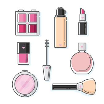 Sammlung von make-up-hautpflege und körperparfüm in niedlichen symbolvektorillustrationen