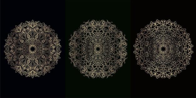 Sammlung von mandala-ornamenten oder blumen