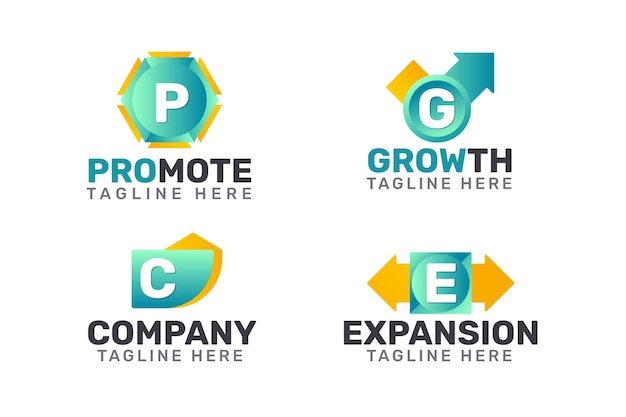 Sammlung von marketing-logos mit farbverlauf