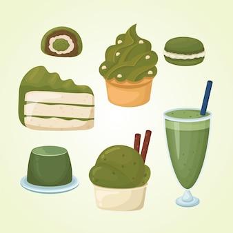 Sammlung von matcha-desserts