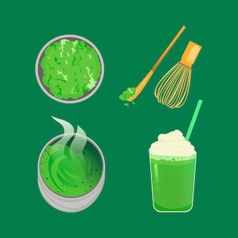 Sammlung von matcha-tee lokalisiert auf grünem hintergrund