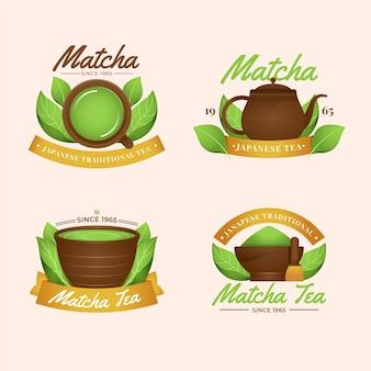 Sammlung von matcha-teebeuteln