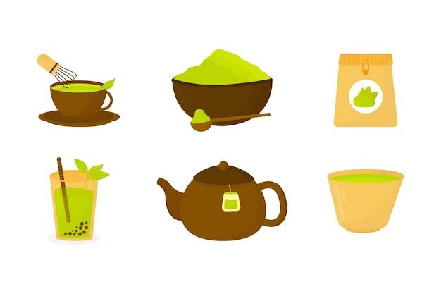 Sammlung von matcha-teepulver und flüssigkeit