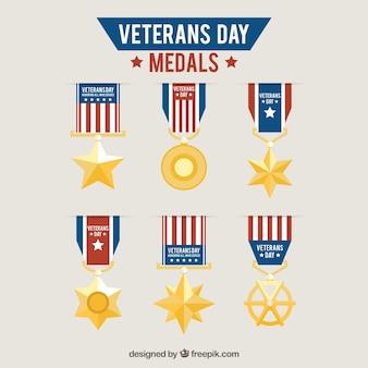 Sammlung von medaillen veteranen tag in flaches design