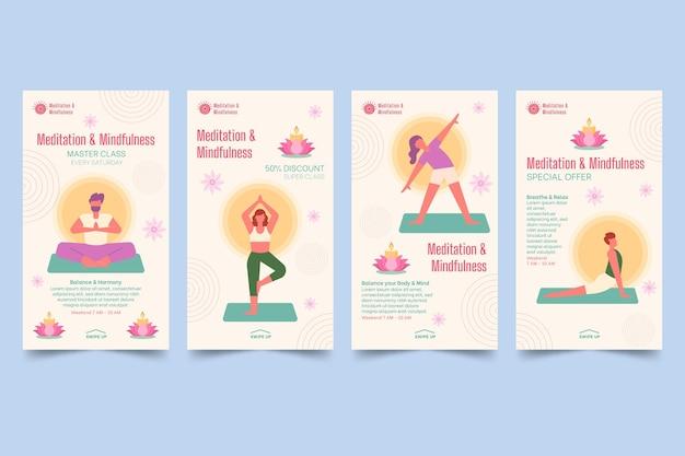Sammlung von meditations- und achtsamkeits-instagram-geschichten