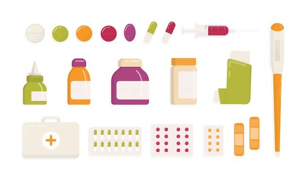 Sammlung von medizinischen werkzeugen und medikamenten isoliert