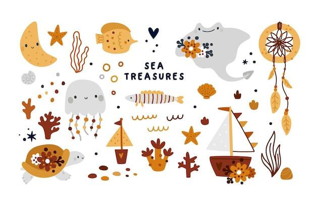Sammlung von meeresschätzen mit niedlichen tieren, fischen, korallen und muschelillustrationen