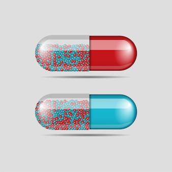 Sammlung von mehrfarbigen medizinpillen isoliert