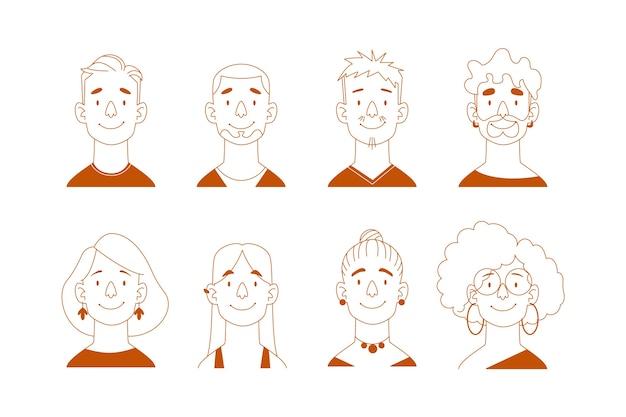 Sammlung von menschen avatare illustration