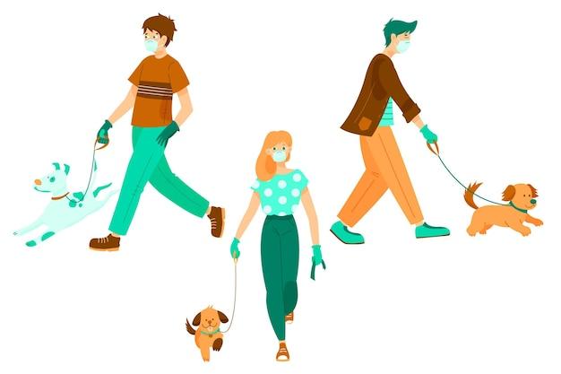 Sammlung von menschen, die ihre hunde spazieren gehen