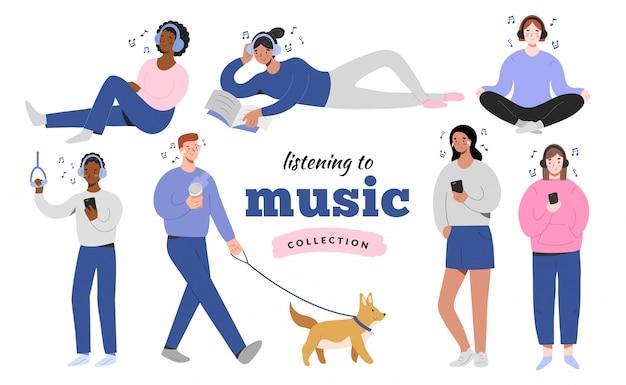 Sammlung von menschen, die musik hören, zeichentrickfiguren